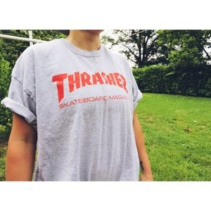 Gray/Red Thrasher T-Shirt Skateboard Tees Skater